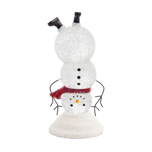 White and Red Acrylic 10-Inch Snowman Snow Globe Timer