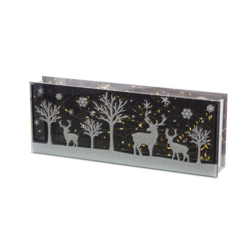 Black and White Deer Rectangle LED Table Piece