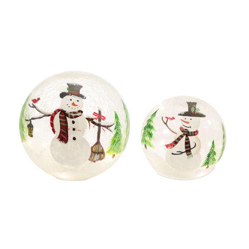 LED Lighted Snowman Globe, Set of 2