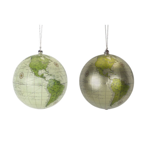 Holiday Globe Ornaments, Set of 4