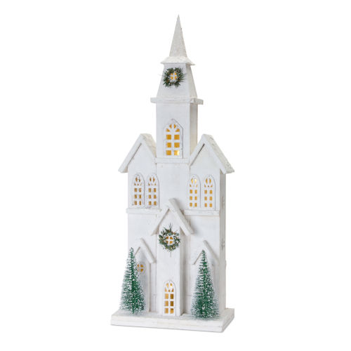 White and Green 28-Inch Holiday Church with Light