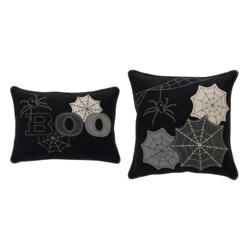 Black and Gray Halloween Pillow, Set of 2