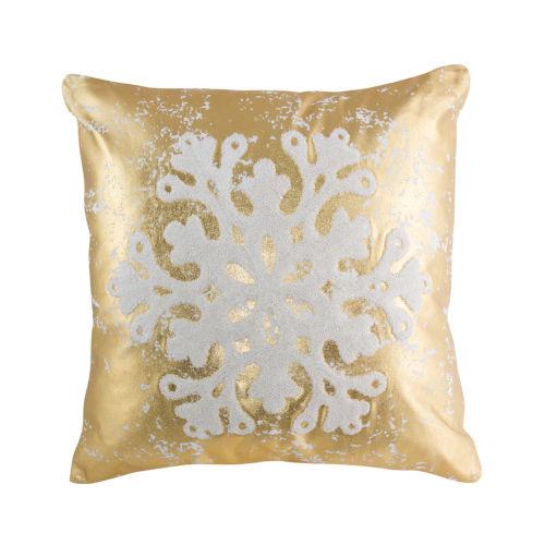 Gold and White Snowflake Throw Pillow