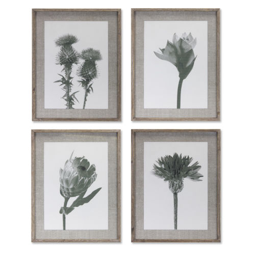 Grey and White Floral Print Wall Decor, Set of 4