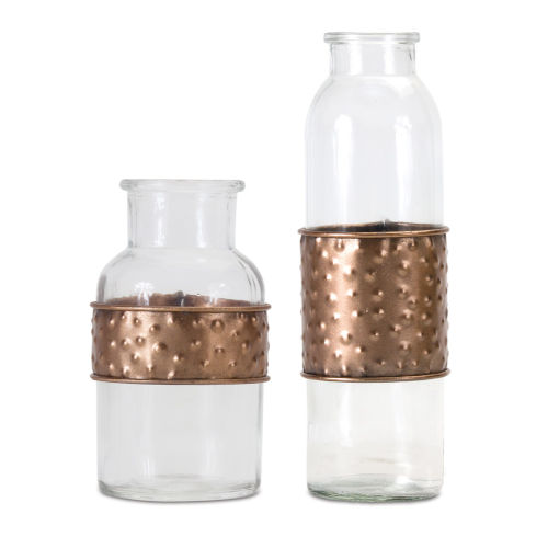 Clear and Copper Bottle with Metal Wrap, Set of 4