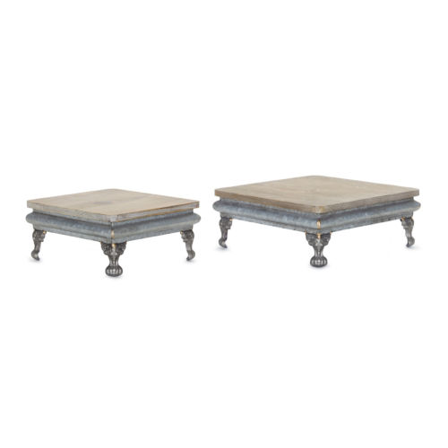 Brown and Silver Pedestal, Set of 2