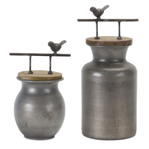 Silver and Brown Jar with Bird Handle, Set of 2