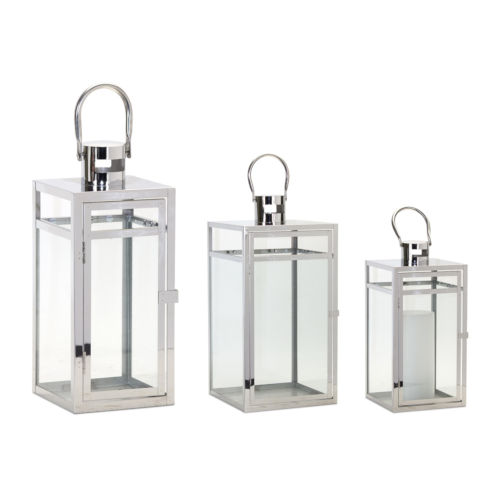 Clear and Silver Lantern, Set of 3