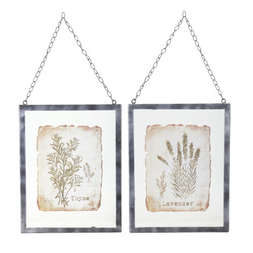 Brown and Green Lavender and Thyme Frame, Set of 2