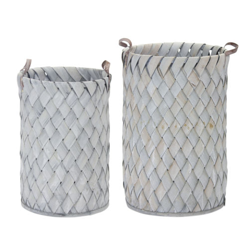Gray and White 18-Inch Basket, Set of 4