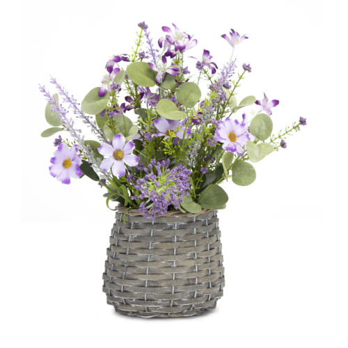 Grey and Purple Mini Floral Basket, Set of 2