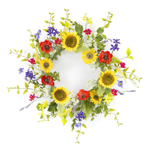 Yellow and Green Sunflower and Poppy Wreath