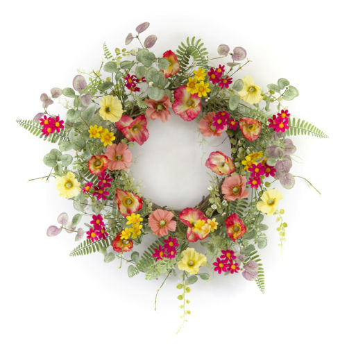 Multicolor 20-Inch Poppy Wreath