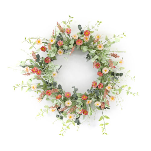 Green and Pink Mini Daisy Wreath