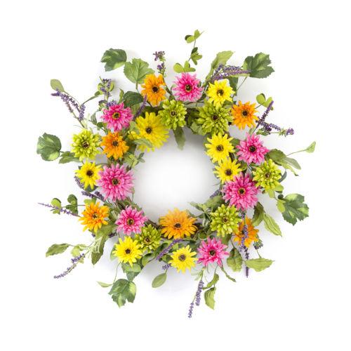 Green and Pink Gerbera Daisy Wreath
