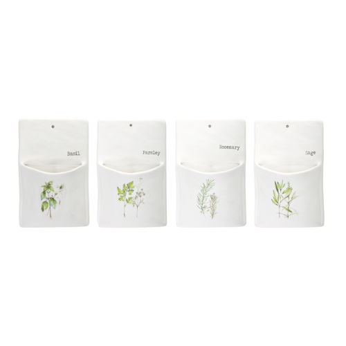 Green and White Herb Wall Pocket, Set of 4
