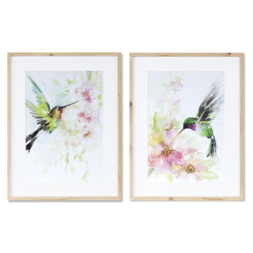 Green and Pink Hummingbird Watercolor, Set of 2