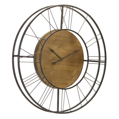 Rustic Wood and Iron Wall Clock