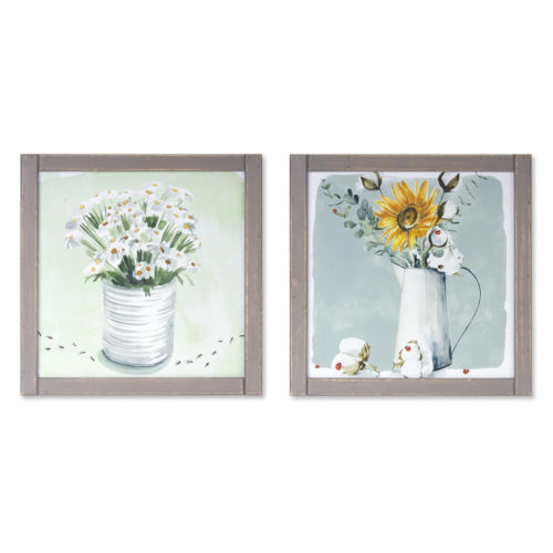 Grey and White Framed Floral Print Wall Decor, Set of 2