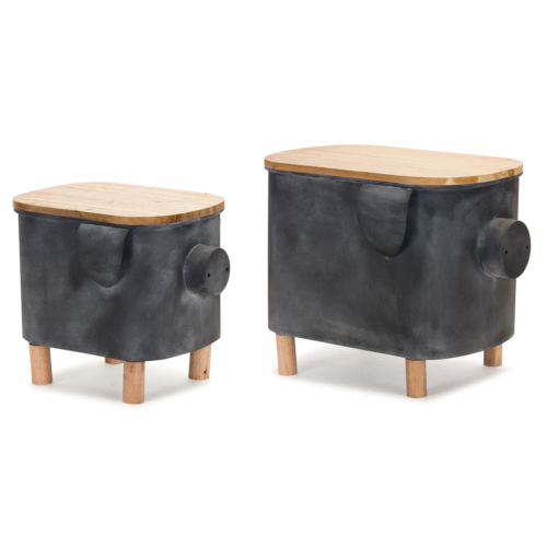 Pig Planter with Lid, Set of 2