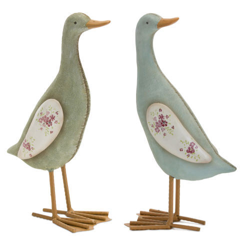 Green and Blue Duck Figurine, Set of 4