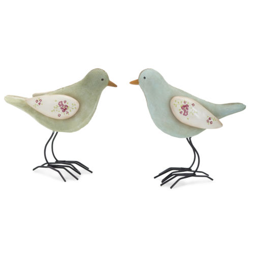 Blue and Green Bird Figurine, Set of 4
