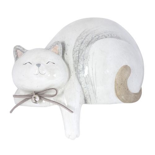 Cream and Grey 7-Inch Cat Figurine, Set of 4