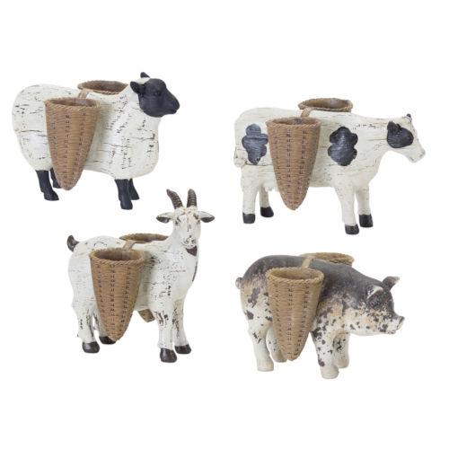Brown and White Farm Animal Figurine, Set of 4