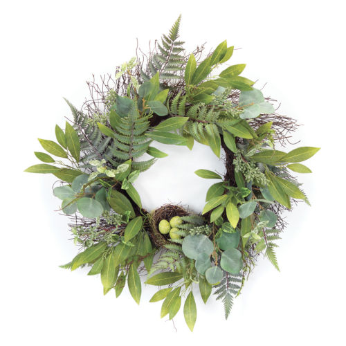 Green and Brown 25-Inch Mixed Foliage with Nest Wreath