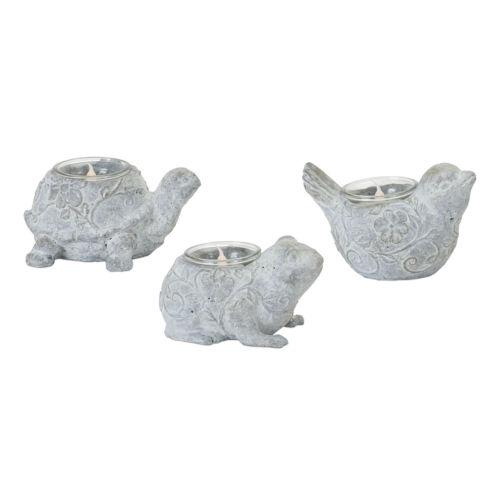 Grey Animal Tea Light Holder, Set of 6