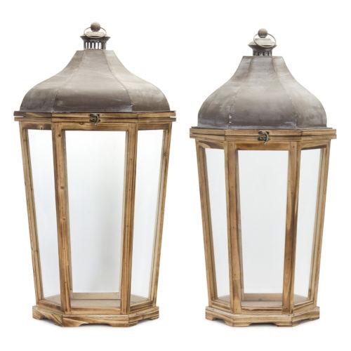 Brown and White Lantern, Set of 2