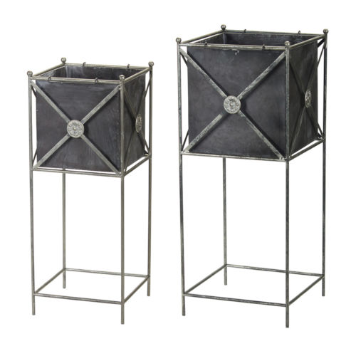 Black and Silver Metal Planter, Set of 2