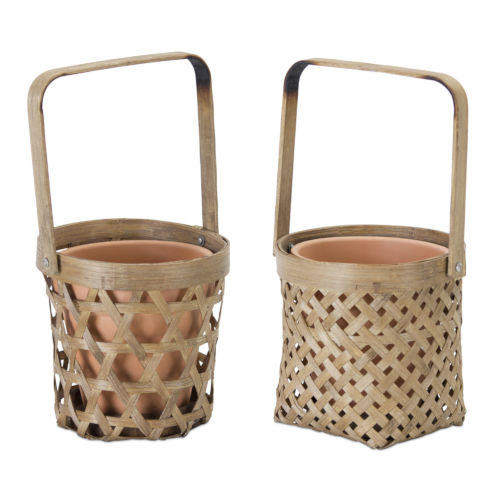 Brown Basket and Pot Holder, Set of 6
