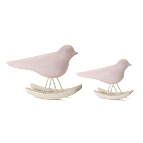 Pink and Brown Bird Rocker Figurine, Set of 4