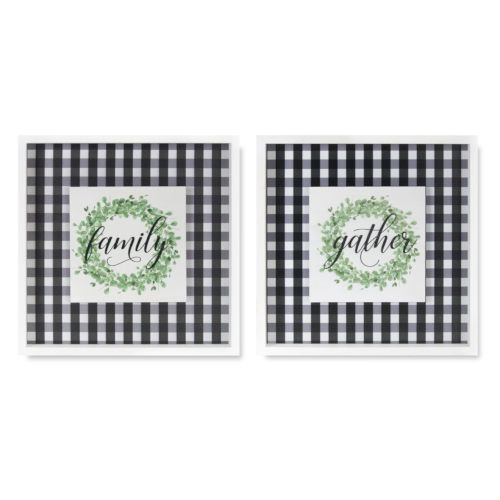 Black and White Word Tile, Set of 2