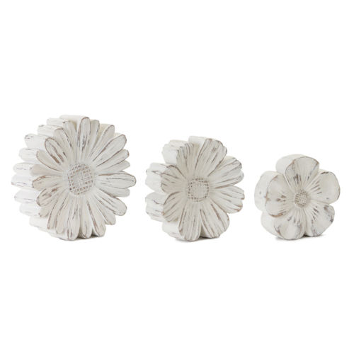 Cream and Brown Flower Accent, Set of 3