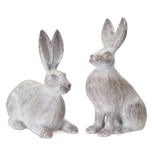 Grey and White Rabbit Figurine, Set of 2