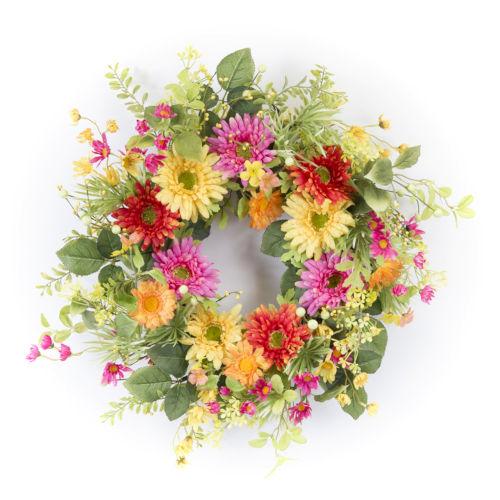 Multicolor 18-Inch Gerbera Daisy Wreath