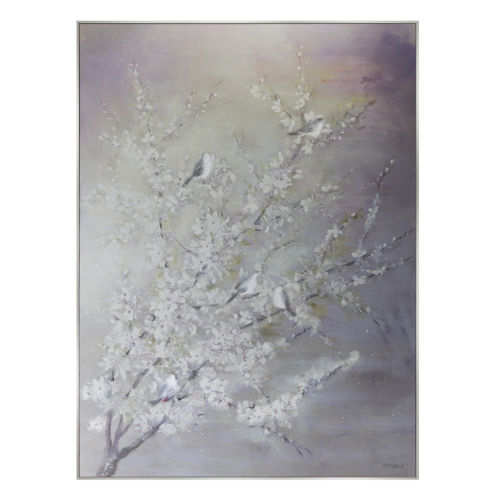 Purple and White Tree and Bird Print Wall Decor