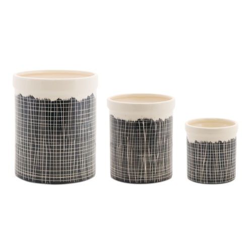 Black and White Terra Cotta Crock, Set of 3