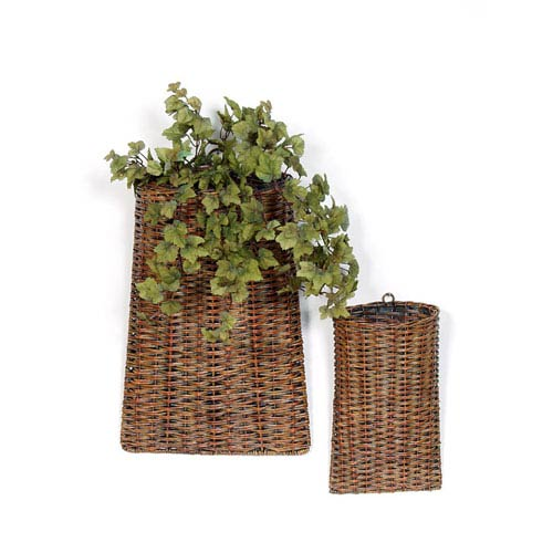 Brown Rattan Baskets, Set of Two