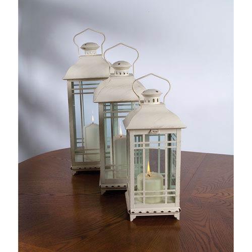 Melrose International White Lantern, Set of Three