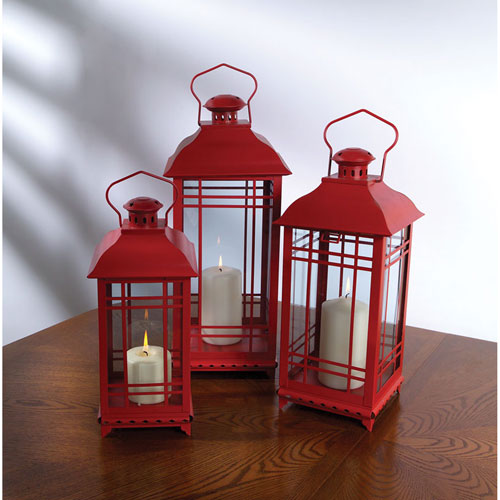 Melrose International Red Lantern, Set of Three