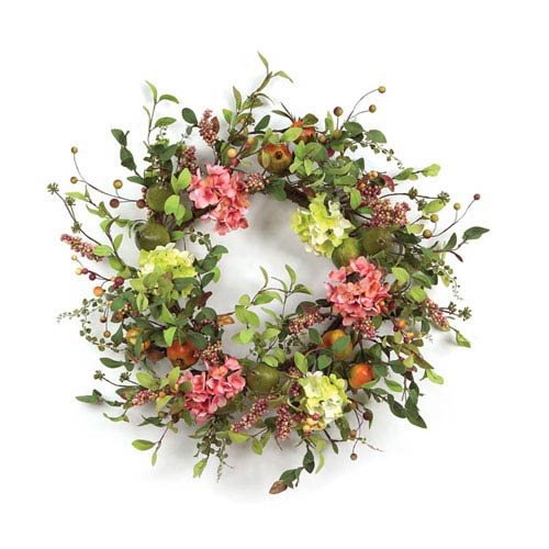 Pink and Green Pear Hydrangea and Berry Wreath