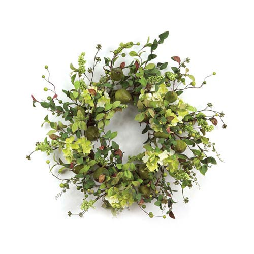 Cream and Green Pear Hydrangea and Berry Wreath