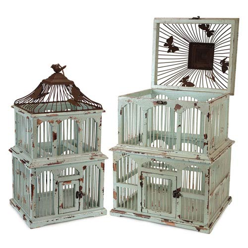 Teal and Rust Bird Cages, Set of Two