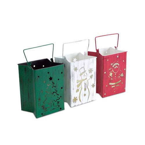 Green, Red and White Lantern Luminary with Indoor and Outdoor Candle, Set of Three