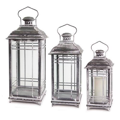 White and Gray Lantern, Set of Three