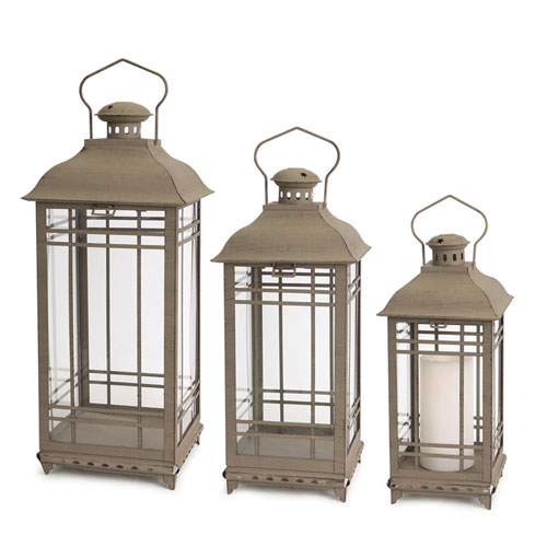 Melrose International Gray Lantern, Set of Three