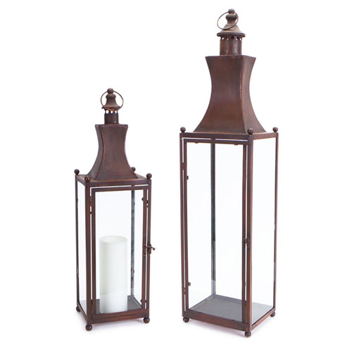 Brown Lantern with Glass, Set of Two